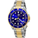 Henry Jay Mens Self Winding Mechanical Automatic 23K Gold Plated Two Tone Stainless Steel