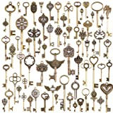 KeyZone Wholesale 69 Pieces Large Antique Bronze Vintage Skeleton Mixed Key Charms Necklace Pendant for DIY Jewelry Making