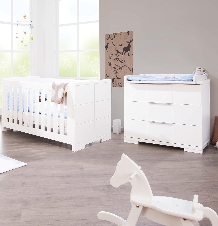 Pinolino Sparset Polar breit, 2-teilig, Kinderbett (140 x 70 cm) und breite Wickelkommode mit Wickelaufsatz, weiß Edelmatt (Art.-Nr. 09 34 21 B) günstig online kaufen