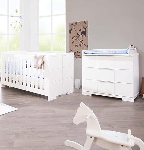 Pinolino Sparset Polar larghezza, 2 pezzi, culla (140 x 70 cm) e larghezza Wickelkommode con fasciatoio, bianco prezioso MATT (tipo. - N, 09 34 21 B)