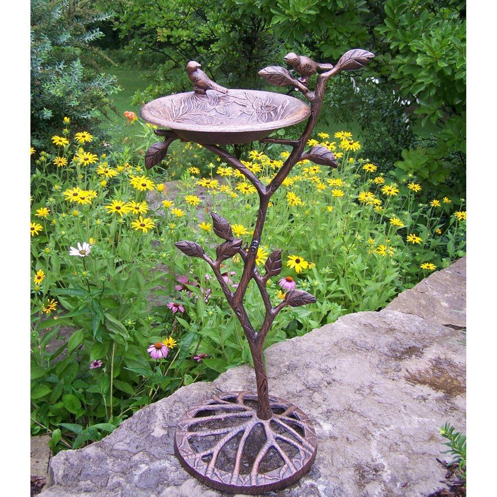 Beautiful Bird Bath For Garden: Metal And Stone