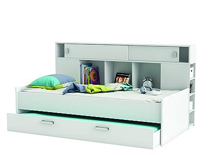 Demeyere 407011 Bettuberbau, Bett mit Bettkasten 90 x 200 cm SHERWOOD, weiß