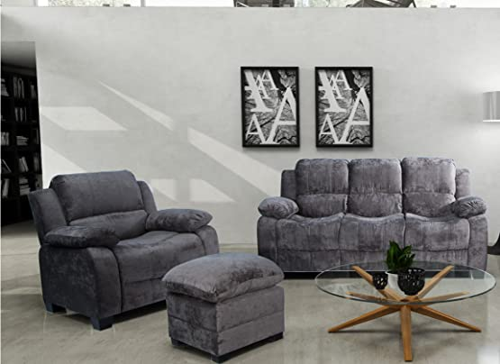 Lovesofas nuovo Valerie 3tessuto e divani a 1posti 2varianti colore grigio chiaro e scuro (3+ 1+ 1, grigio scuro)