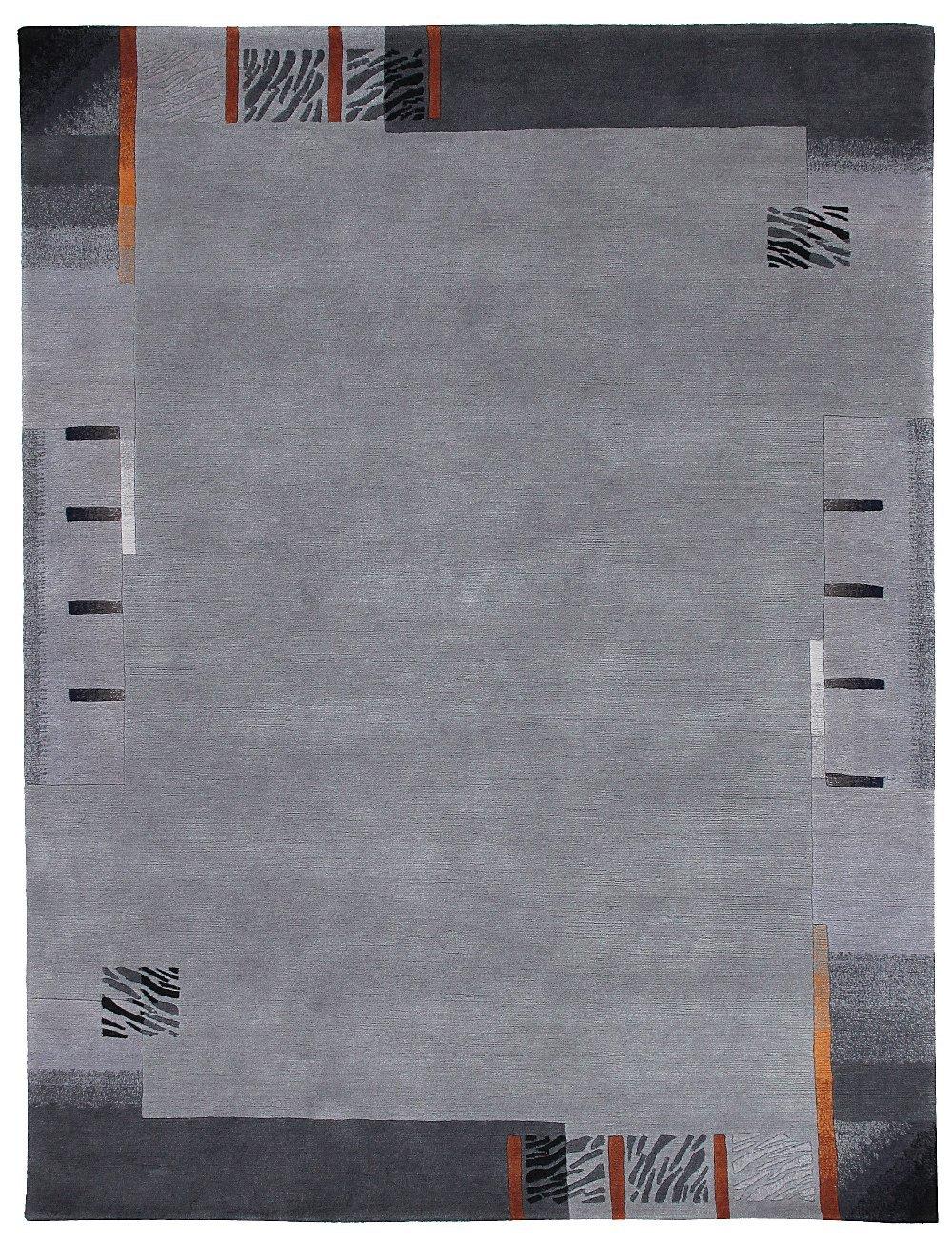 """TEPPICHWELT SONA-LUX Nepal Teppich handgeknüpft platin """"Größe auswählen"""" 90 x 160 cm"""