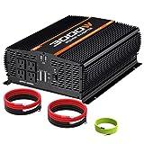 POTEK 3000W Power Inverter 4 AC Outlets DC 12V to 110V AC Car Inverter with 2 USB Port (Color: BLACK, Tamaño: 3000W)
