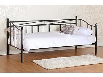 Seconique Pandora Bett-Meters 0.91, Tagesbett, aus Metall, Schwarz/Elfenbein Modern schwarz