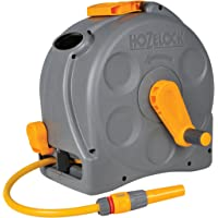 Hozelock 2-in-1 Compact Enclosed Hose Reel with 25 m Hose and Connectors (Grey/Green)