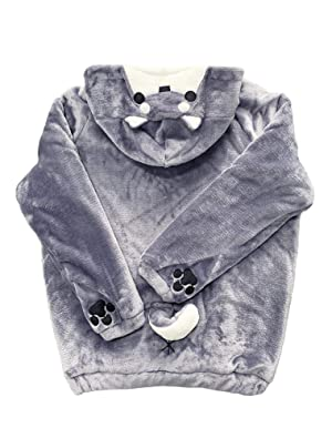 CORIRESHA Cute Coral Celvet Long Sleeve Shiba Inu Dog Home Wear Clothes Hoodie Sweatshirt with 3D Dog Ear and Dog Tail (Color: Shibainu_grey, Tamaño: Small)