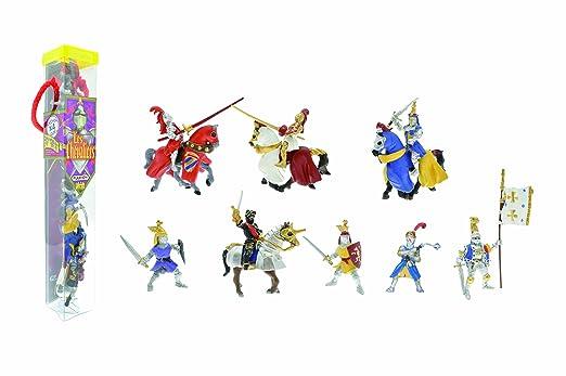 Plastoy - 70351 - Mini Figurines-Tubo Les Chevaliers 12 Figurines