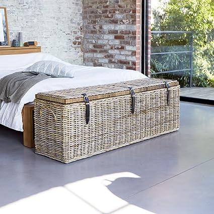Cofre fibra natural vegetal rota gris clara habitación 150cm