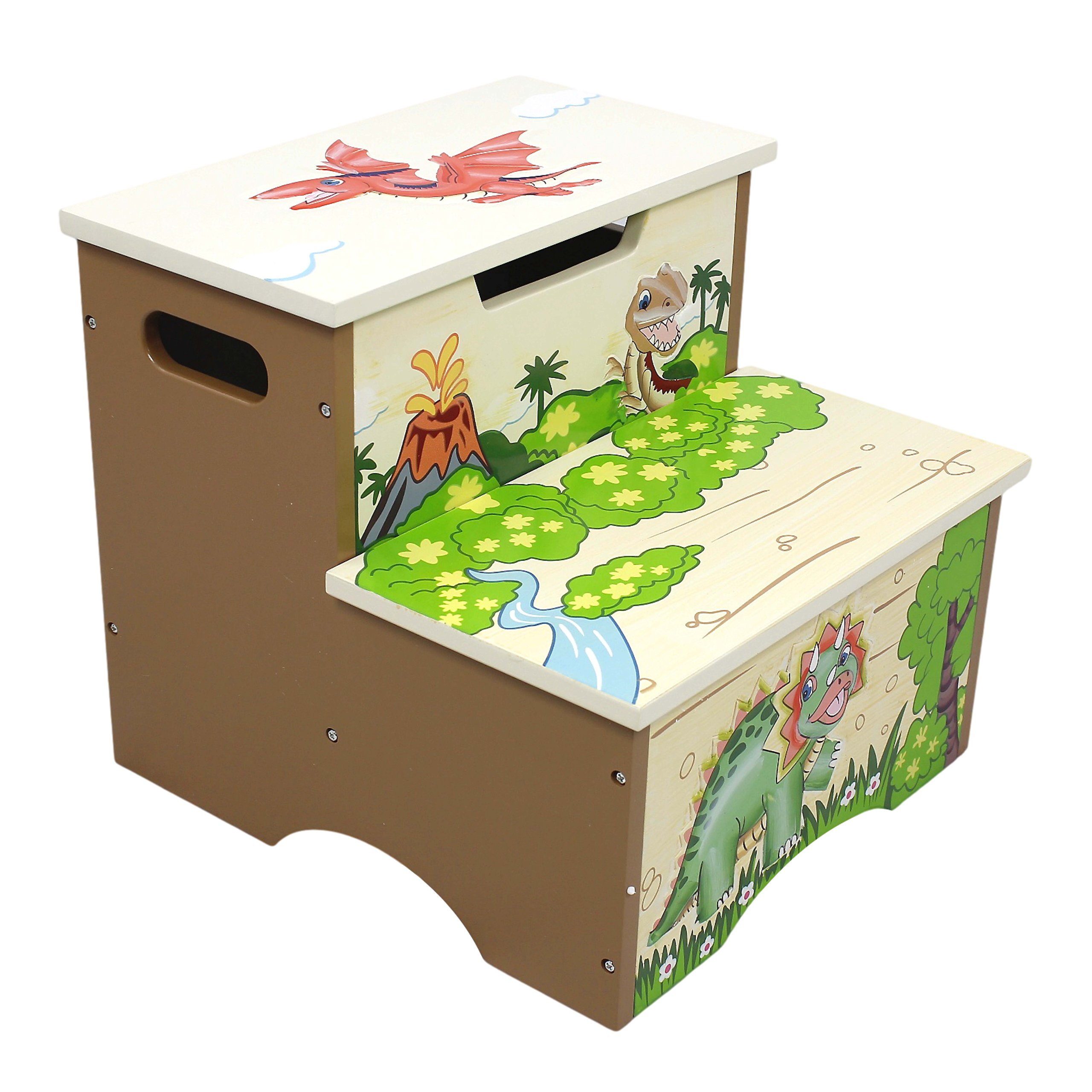 Teamson Kids Wooden Step Stool With Storage Dinosaur Kingdom Room Collection
