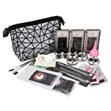 anmas rucci 19in1 Eyelash Extension Kits Micro Brushes Glue Lash Pallet Under Eye Pad & Bag (Color: Silver)