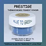 Prestige THERMOCHROMIC Pigment That Changes Color at 88°F (31 °C) from Colored to Transparent (Colored Below The Temperature, Transparent Above) Perfect for Color Changing Slime! (2g, Blue to Green) (Color: BLUE TO GREEN, Tamaño: 2g)
