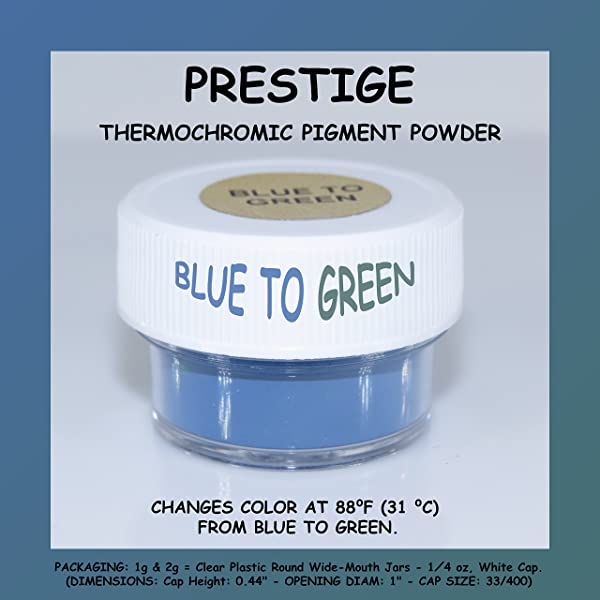 Prestige THERMOCHROMIC Pigment That Changes Color at 88°F (31 °C) from Colored to Transparent (Colored Below The Temperature, Transparent Above) Perfect for Color Changing Slime! (1g, Blue to Green) (Color: BLUE TO GREEN, Tamaño: 1g)