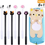SATINIOR 8 Pieces Kawaii Gel Ink Pen with Large Capacity Cute Cat Cloth Zipper Pouch Pencil Case 0.38 mm Ball Point Black Gel Ink Set for School Office Supplies