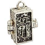 Darice Prayer Box Metal Charm 1/Pkg, Antique Silver Bible