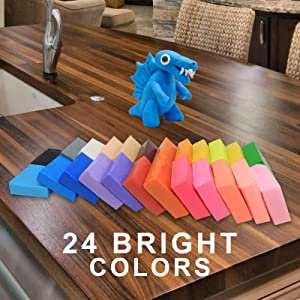Polymer Clay Kit, Ultra Soft & Stretchable Baking Molding Clay- 24 Color Blocks with Bonus Tools, Accessories and Easy Storage Box - DIY Modeling Magic Clay Kit for Kids/Adults (Color: Red, Blue, Pink, Green, Purple, Yellow, Orange, Brown, White,)