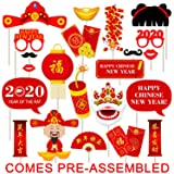 Happy Chinese New Year 2020 Photo Booth Props Kit - NO DIY Needed - Year of the Rat Decorations - 2020 Chinese New Year Party Supplies Favors - 22 Count, Large (Color: Red)