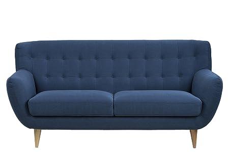 AC Design Furniture Saxon - Sofá de 3plazas, de tela, con respaldo acolchado y patas de madera, tela, azul, 3-Sitzer