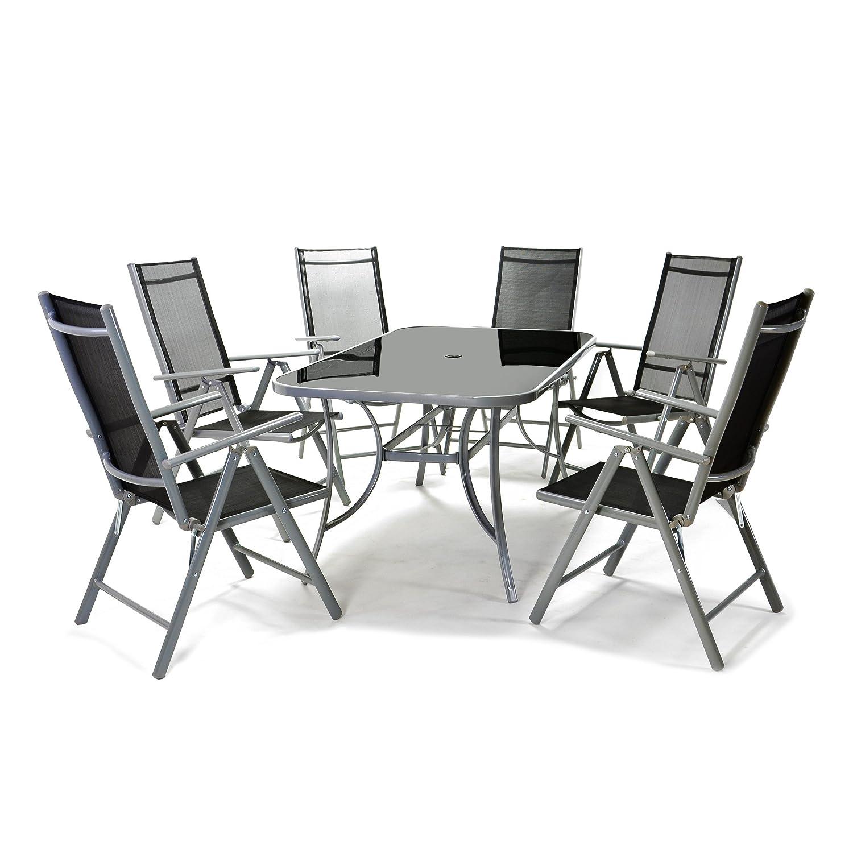 7tlg. Gartengarnitur Alu Sitzgruppe Sitzgarnitur Gartenstühle Glastisch schwarz günstig