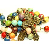 Dyed Jade Bright Colors with Gold Finish Rosary in Bronze from Oklahoma