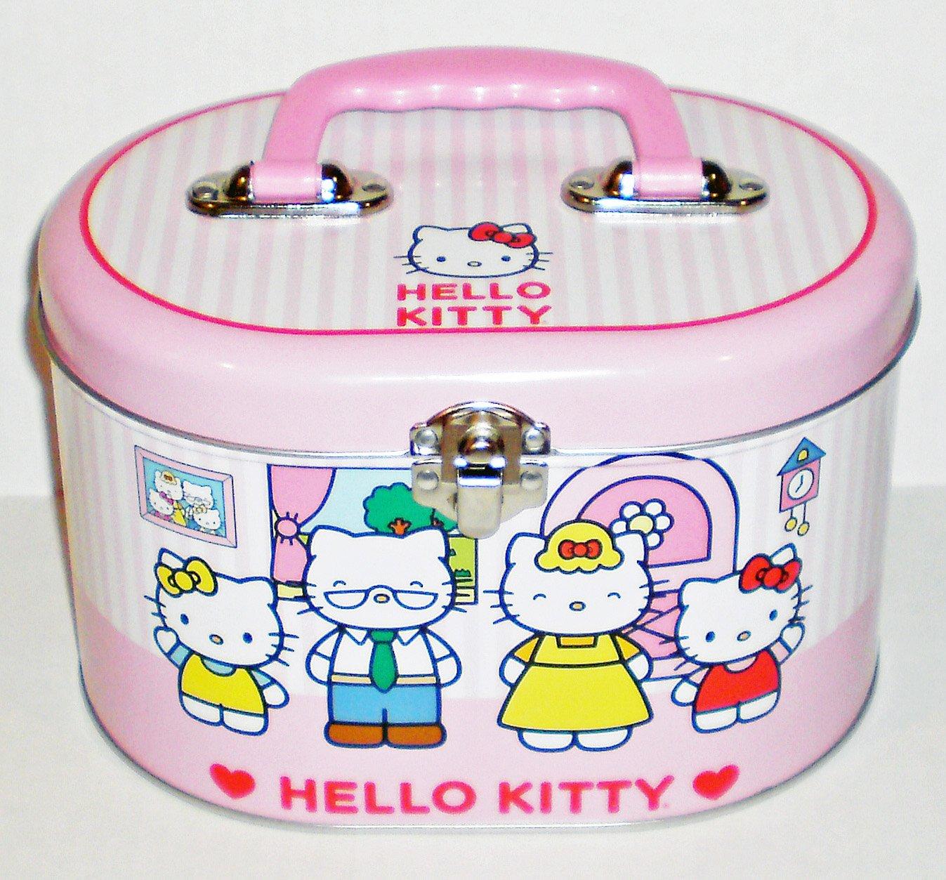 Hello Kitty Family Oval Tin Sewing Box