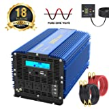 3000Watt Pure Sine Wave Power Inverter 12V DC to 120V AC with 4 AC Outlets Dual 2.4A USB Ports Remote Control & LCD Display by VOLTWORKS (Tamaño: 3000Watt)