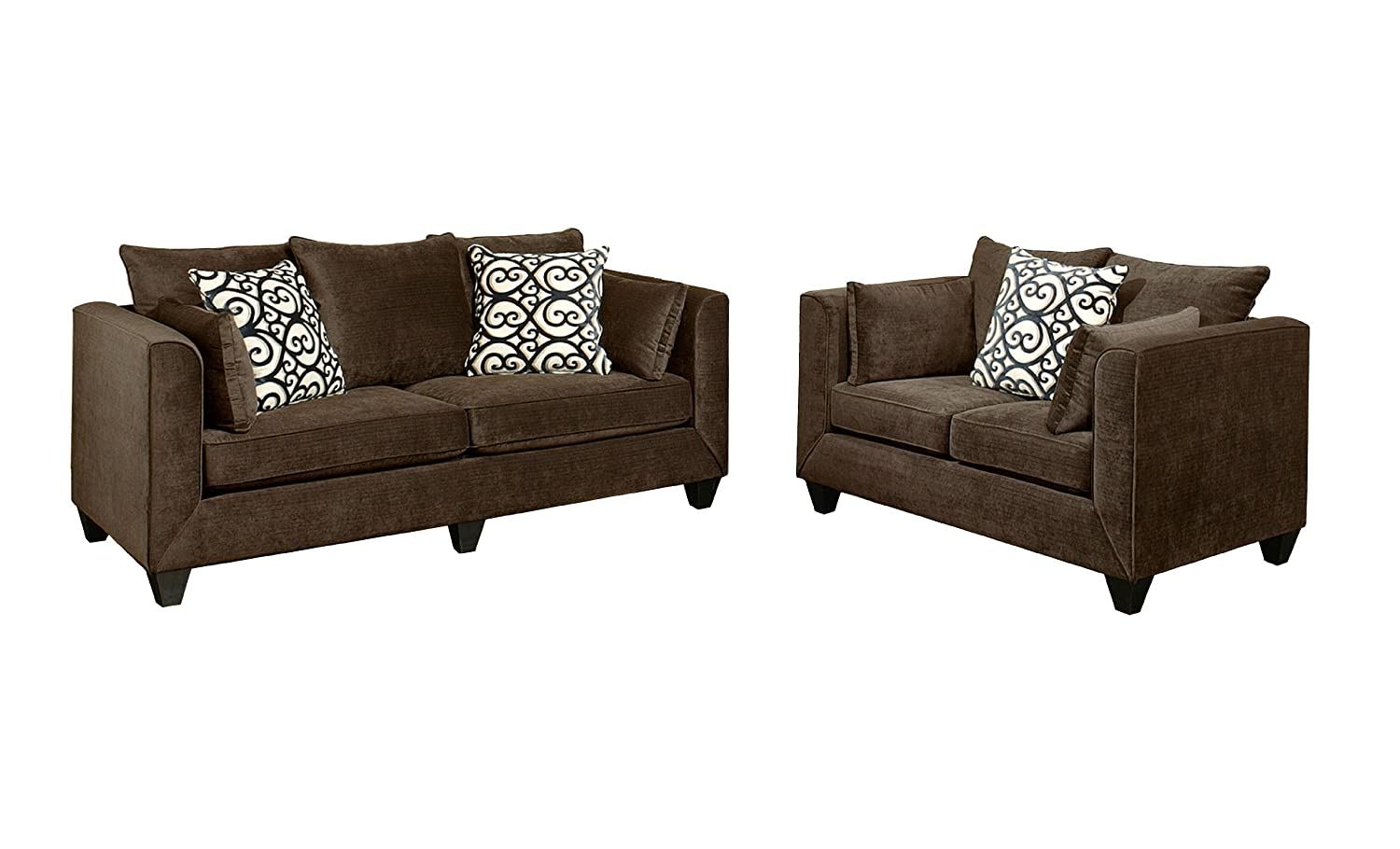Furniture of America Polluxe 2-Piece Chenille Upholstered Sofa Set - Chocolate