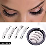 Magnetic Eyelashes Dual Magnet Glue-free 3D Reusable Full Size Premium Quality Natural False Lashes - 2018 (Color: Black, Tamaño: 4 x 2 x 2 inches)