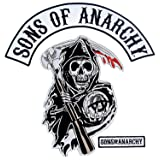 Sons of Anarchy Text and Arched Reaper Logo Mens Patch Set (Color: Multicolor, Tamaño: 17 X 17.5 inches)