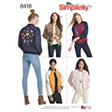 Simplicity Pattern 8418 R5 Misses' Lined Bomber Jacket with Fabric and Trim Variations, Size 14-22 (Tamaño: R5 (14-16-18-20-22))