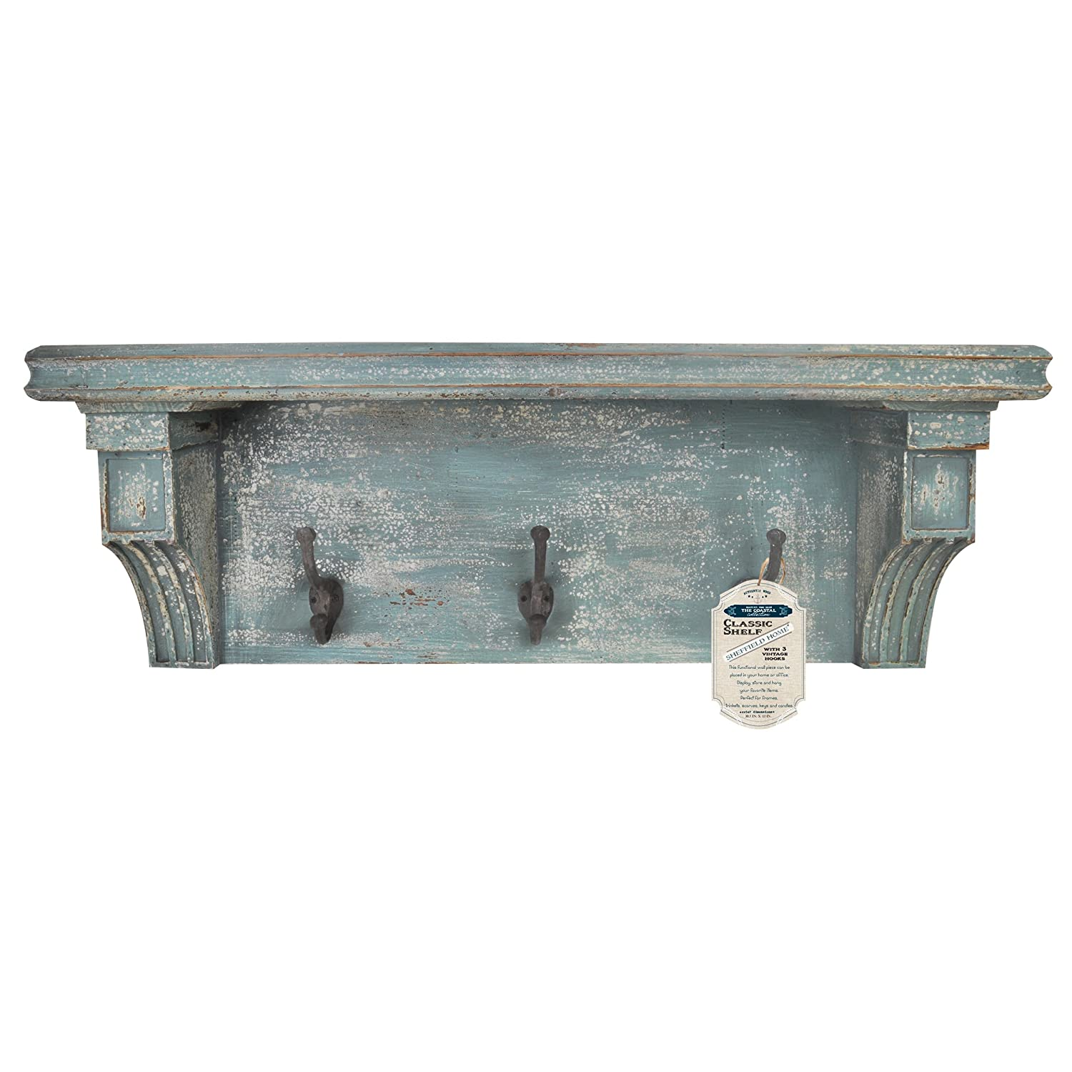 Shabby chic floating shelves ishoppink blog distressed rustic solid wood vintage wall shelf with hooks distressed blue amipublicfo Gallery