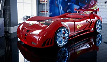 Speedster ventura car racer 3ft bed - LED LIGHTS + SOUND - Red - Childrens kids boys beds