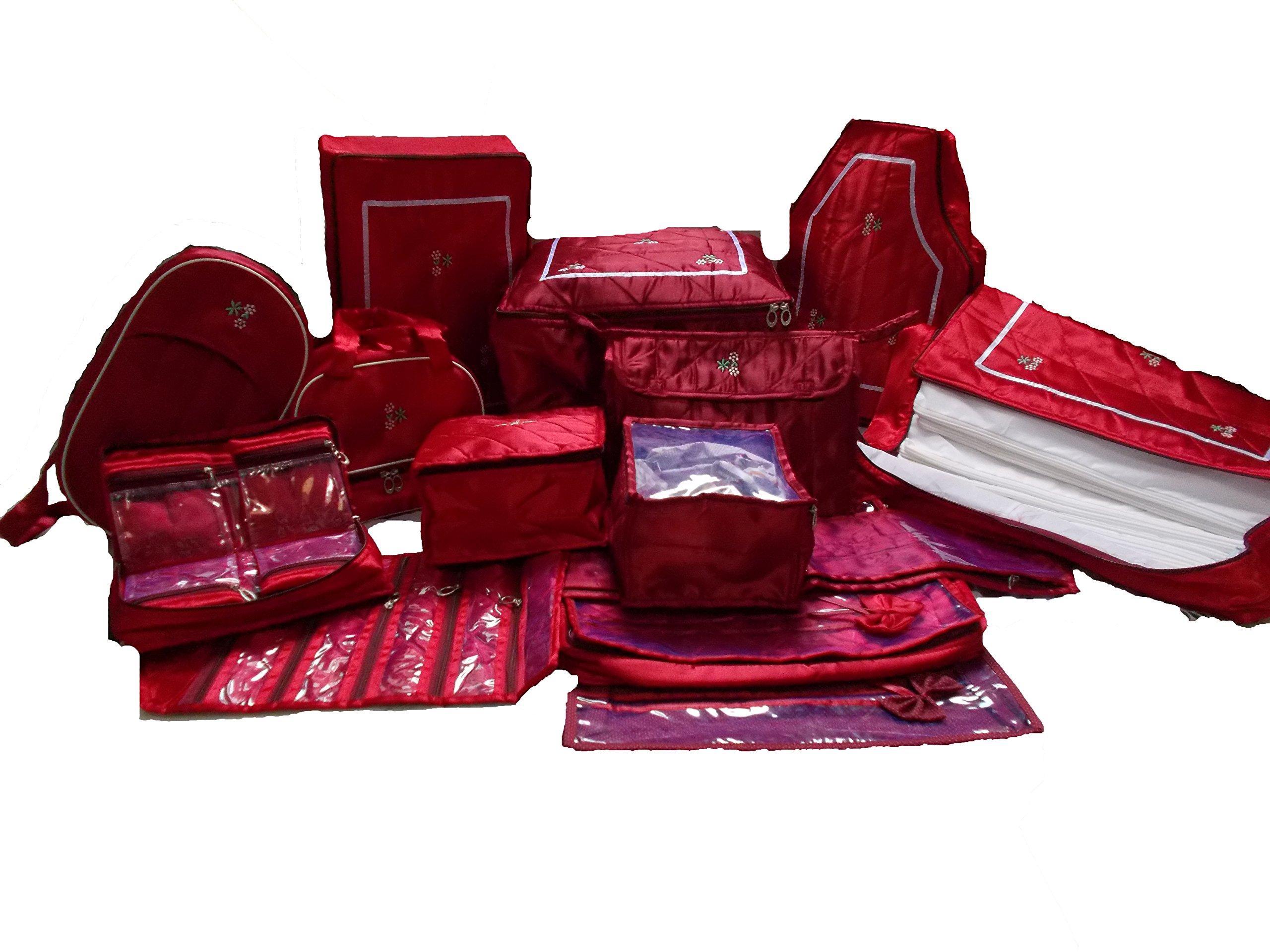 Wedding Gift, 14 pcs combo,Saree Cover, jwellery,payal, Vanity, UG ,blouse,petticote cover and 12 saree bag
