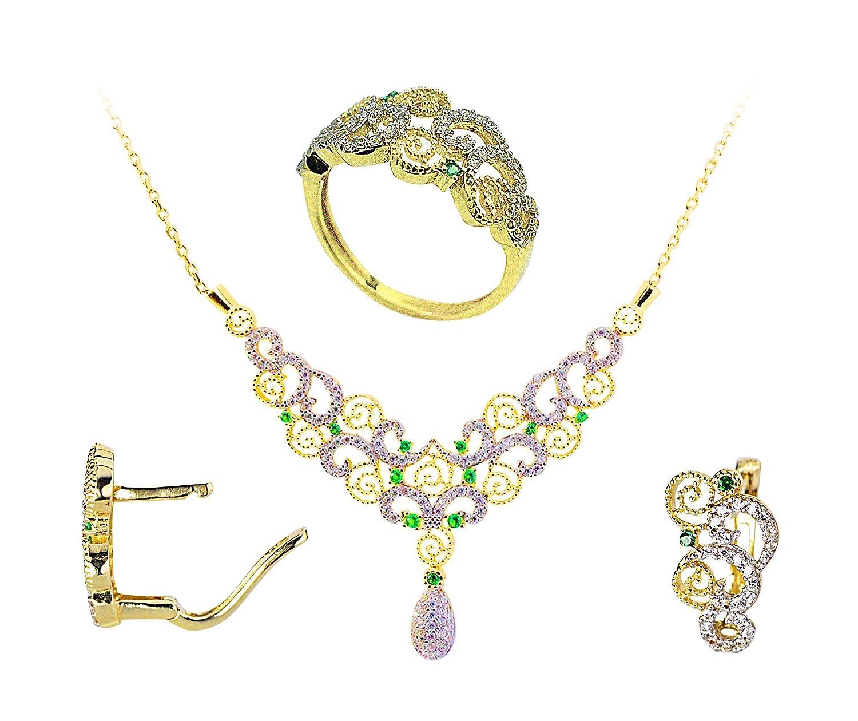 youluxe Damen Schmuck-Set. Collier 45 cm, Ring und Ohrringe aus 585 Gold jetzt kaufen