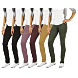 JOTW 6 Pack Fleece Lined High Waist Leggings Comfy Seamless Basic Stretch Legging For Women (One Size (0-12), Pack A)