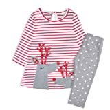Minilove Girls Embroidery Long Sleeve Striped Christmas Dress Clothing Set (110, Red(Deer))