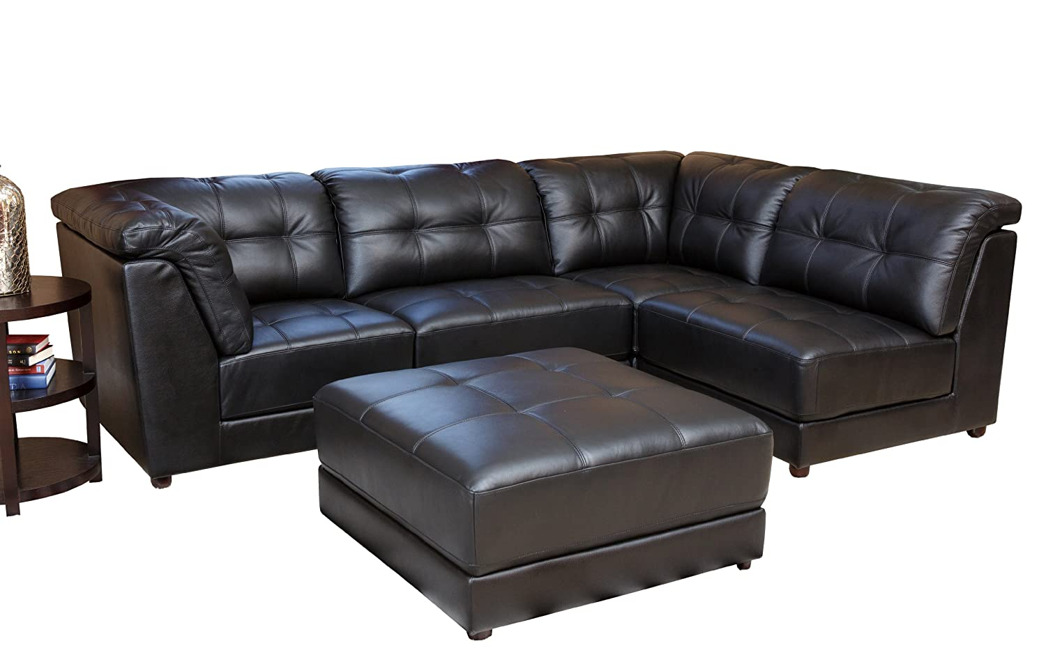 Abbyson Living Donovan 5-Piece Modular Leather Sectional Sofa - Black