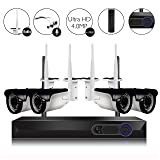 CAMVIEW 4CH 2592x1520P Wireless Security CCTV Surveillance System WiFi NVR Kits, 4 x 4.0MP Wireless Indoor/Outdoor IP Cameras, Microphone Plug, Night Vision, Ultra HD, HDD not Included (Color: 2479 Hz, Tamaño: 2479 Hz)