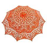 Topwedding Battenburg Lace Outdoor Wedding Parasol Bridal Shower Umbrella, Orange (Color: Orange, Tamaño: onesize)