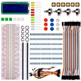 Quimat Basic Starter Kit for Arduino UNO R3 Mega2560 Mega328 Nano & Raspberry Pi 3, with Switch, Color Led, LCD Module, Breadboard, Resistors and Rotary Potentiometer (Color: For Arduino & Raspberry Pi)