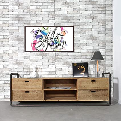 Mueble TV industrial élancé 4cajones, 2secciones) | sn22