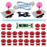 SJ@JX 2 Player LED Arcade Game DIY Kit Highlight LED Button Fighting Joystick Controller Zero delay USB Encoder Retropie PC MAME Mechanical Keyboard Switch Raspberry Pi LED Button (Color: red)