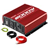 POTEK 2000W Power Inverter 12V DC to 110V AC Car Power Inverter 3 AC Ports USB Port (Color: Red, Tamaño: 2000W)