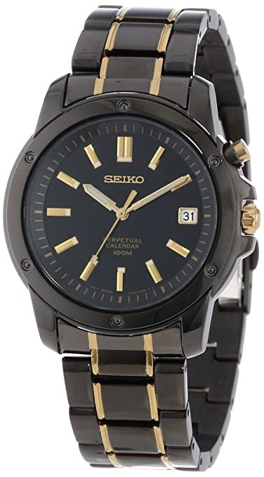 Seiko Men's SNQ045 Perpetual Calendar Black Ion Watch 精工 男士石英手表 万年历-奢品汇 | 海淘手表 | 腕表资讯