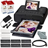 Canon SELPHY CP1300 Compact Photo Printer (Black) with WiFi and Accessory Bundle w/ 2X Canon Color Ink and Paper Set (Color: Black, Tamaño: Printer + 2PK)