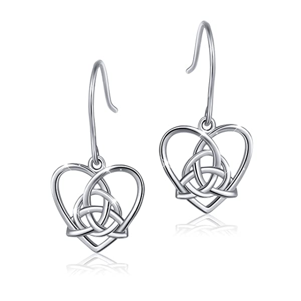 f34db3d3541c 925 Sterling Silver Good Luck Irish Celtic Knot Triangle Vintage Love Heart  Earring