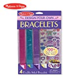 Melissa & Doug Design-Your-Own Bracelets (Arts & Crafts, Easy Tab Closure, Reversible and Adjustable, 4 Double-Sided Bracelets) (Color: Multicolor, Tamaño: One Size)