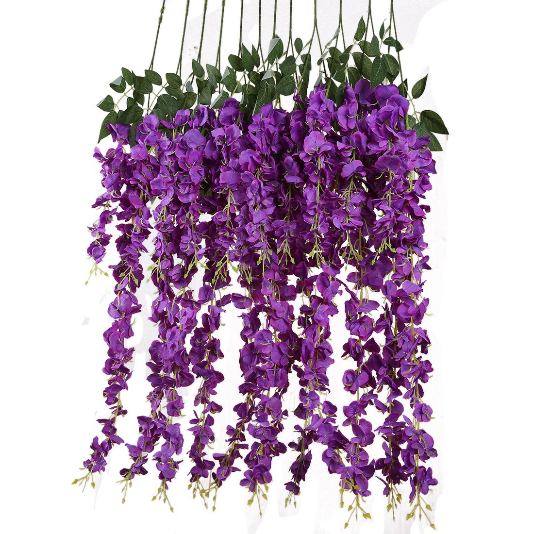 Luyue 3.18 Feet Artificial Silk Wisteria Vine Ratta Silk Hanging Flower Wedding Decor,6 Pieces,(Purple)