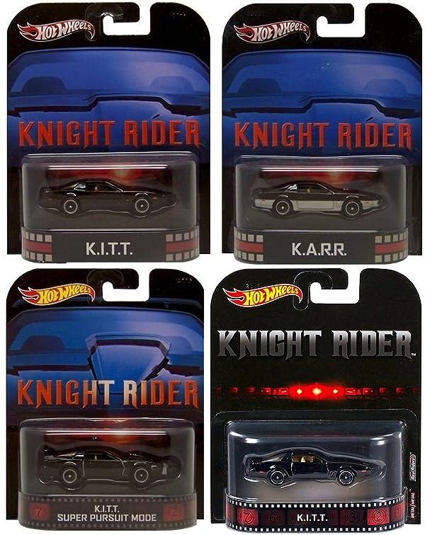 Hot Wheels Night Rider KITT Set of 4 Retro KITT, KARR, KITT Super Pursuit Mode & 2017 KITT Limited Edition 1:64 Scale Collectible Die Cast Metal Toy Car Models